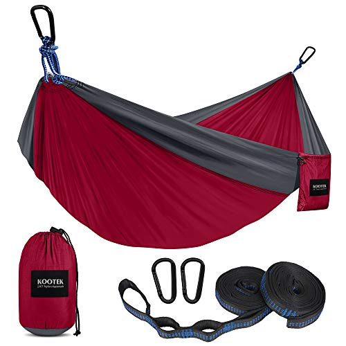 Kootek Camping Hammock Double & Single Portable Hammocks with 2 Tree Straps, Lightweight Nylon Parachute Hammocks for Backpacking, Travel, Beach, Backyard, Patio, Hiking (Dark Red & Dark Grey, Small)