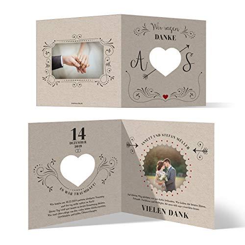 30 x Lasergeschnittene Danksagungskarten Hochzeit Hochzeitskarten Dankeskarten individuell mit Foto und Text Quadrat Klappkarte 148x148mm - Vintage Kraftpapier