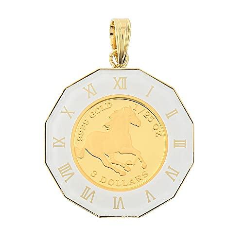[ハッピーグッツショップ] 純金 K24 ホース 馬 1/25oz 金貨 ペンダントトップ コイン アラベスク 時計文字 ホワイト K18 デザイン枠 メンズ レディース 首飾り ネックレス ヘッド チャーム