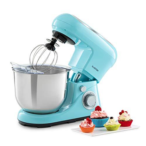 Klarstein Bella Pico 2G Küchenmaschine Rührmaschine, 1200 W / 1,6 PS in 6 Leistungsstufen mit Pulsfunktion, Planetarisches Rührsystem, 5 l Edelstahlschüssel, 3-tlg, blau