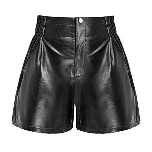 RAMISU Womens Casual Faux Leather Shorts High Waisted Wide Leg Shorts Flare PU Shorts 6001 M Black