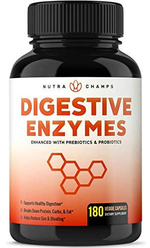 Digestive Enzymes with Prebiotics & Probiotics 180 Vegan Capsules - Better Digestion, Nutrient Absorption - Multi Enzyme Supplement. Helps Bloating, Gas, Discomfort, IBS, Lactose Intolerance