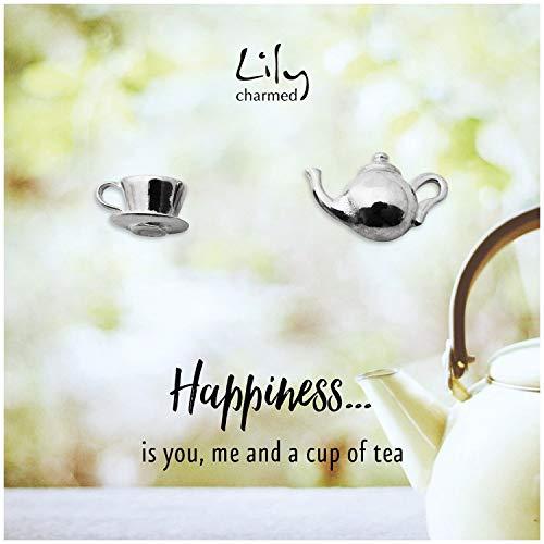Lily Charmed–Plata de Ley tetera y taza de té pendientes con diseño de 'felicidad 'tarjeta de mensaje