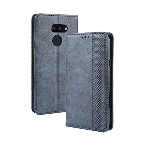 Dedux Flip Hülle kompatibel mit LG K40S, Retro Leder Brieftasche Abdeckung Magnetverschluss Folio Ständer Kartensteckplätze Handyhülle, Blau