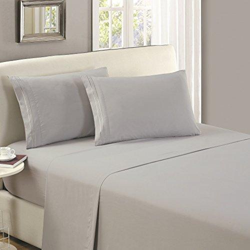 Mellanni Flat Sheet King Light Gray - Brushed Microfiber 1800 Bedding Top Sheet - Wrinkle, Fade, Stain Resistant - Ultra Soft - Hypoallergenic (King, Light Gray)