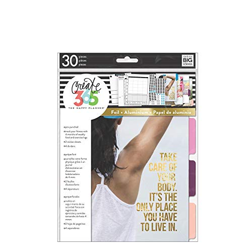 me & my BIG ideas 4 Month Fitness Extension - The Happy Planner Scrapbooking Supplies - Pre-Punched Pages - Food & Exercise Logs - Inspirational Dividers & Stickers To Stay on Track - Classic Size