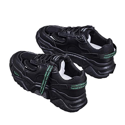 DogensHonz Malla de Mujer de Primavera Zapatillas para Correr Transpirables Plataformas cómodas Zapatillas para Mujer Black 36