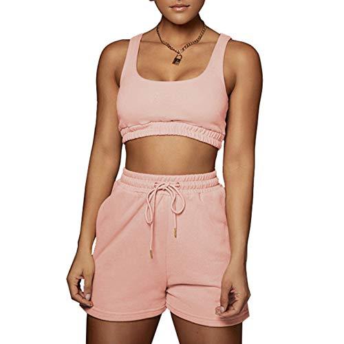 Women 2 Piece Outfits Tracksuit Set - Sleeveless Double Layer Crop Tank Top + High Waist Shorts Jogger Set Pink 2X