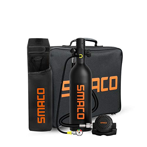 SMACO Scuba Tank Diving Gear for Diver Mini Scuba Tank Oxygen Cylinder with 15-20 Minutes Capability Diving Oxygen Underwater Breathing Device 1L Diving & Snorkeling Equipment S400 Pro