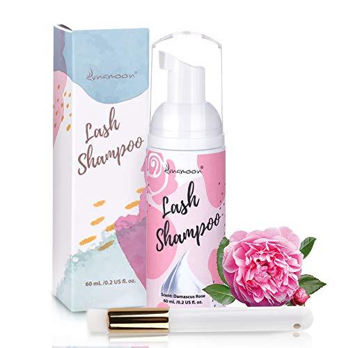 Lunamoon Wimpernshampoo Wimpernschaum Cleanser Wimpernshampoo für Wimpernverlängerung Sanfte Wimpernreiniger Schaumwäsche zum Entfernen von Öl & Make-up inkl Reinigungsbürste 60ml (Rose)