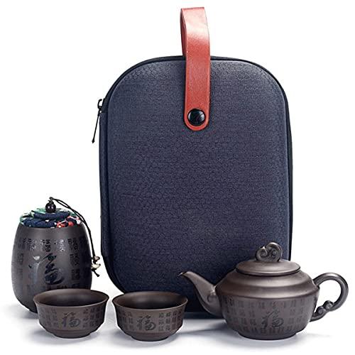 Uioy Juego de té Chino portátil de Kung Fu con Bolsa de Viaje, Juego de té de cerámica Zisha con 2 Tazas de té, para Viajes, hogar, Oficina al Aire Libre (Color : C)
