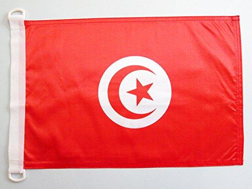 AZ FLAG Bandera Nautica de TÚNEZ 45x30cm - Pabellón de conveniencia TUNECINA 30 x 45 cm Anillos