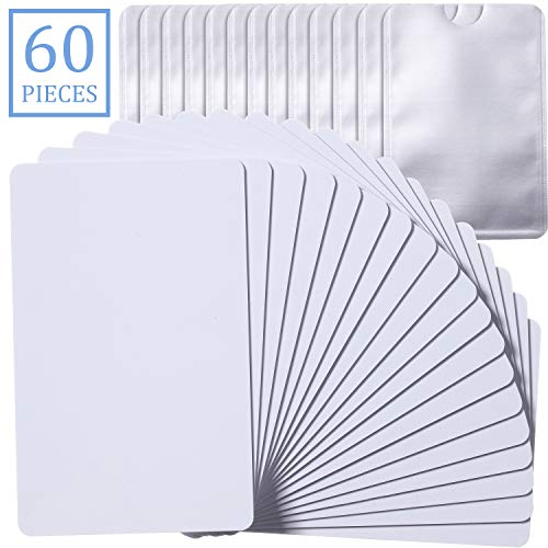 30 Pieces NTAG215 NFC Cards 504 Bytes Memory Blank Printable Cards with 30 Pieces Anti-Magnetic RFID Blocking Sleeves, Compatible with TagMo, Nintendo, and Most NFC-Enabled Smartphones and Devices
