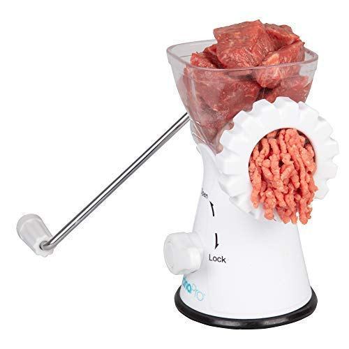 Manual Meat Grinder- Rust-Free Mincer w 2 Stainless Steel Plates, Sausage Attachment, Press, Heavy Duty Suction Base and Dishwasher Safe Design- Make Suasage, Ground Beef, Hamburgers and More
