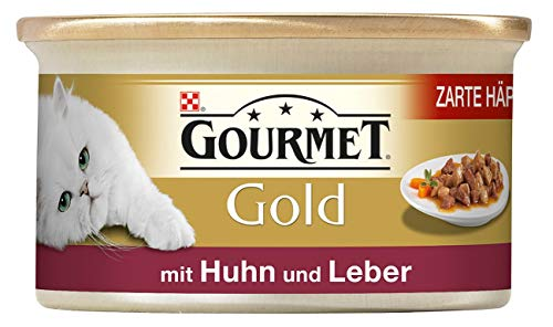 Gourmet Gold Katzenfutter Zarte Häppchen in Sauce mit Huhn und Leber, 85 g