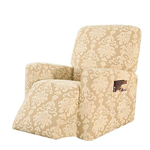 CLGTY Elasticizzato Copripoltrona Relax, Maglieria Jacquard Spandex Fodera per Poltrona Morbido Antiscivolo Lavabile Sofa Protettore per Bambini Animali-Albicocca-reclinabile