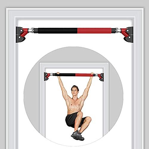 RHINOSPORT Barra de dominadas ajustable para la parte superior de los brazos y los abdominales, para puertas de 72 – 92 cm (28,3 – 36,2 pulgadas), sin tornillos, barra de dominadas