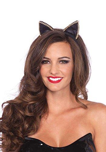 Leg Avenue A2746 - satén venda del oído del gato con acento de cadena - un tamaño, negro