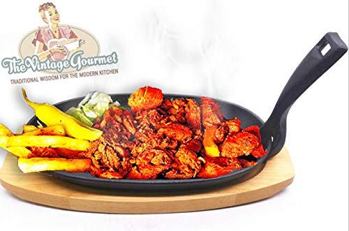 Vintage Gourmet  Premium Pre-Seasoned Cast Iron Sizzler Serving Dish/Steak Platter with Wooden Stand, Black, 24 cm x 14 cm Create That Authentic Feel, Serve Your Dishes Sizzling at The Table!