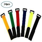 24 Pezzi Riutilizzabili Fascette in Velcro Fascette Cavi,Fascette Fermacavi & Cavi Fascette, Hook e Loop Cavi Cinghia, Cavi Organizzatore Fastener,300 mm x 20 mm