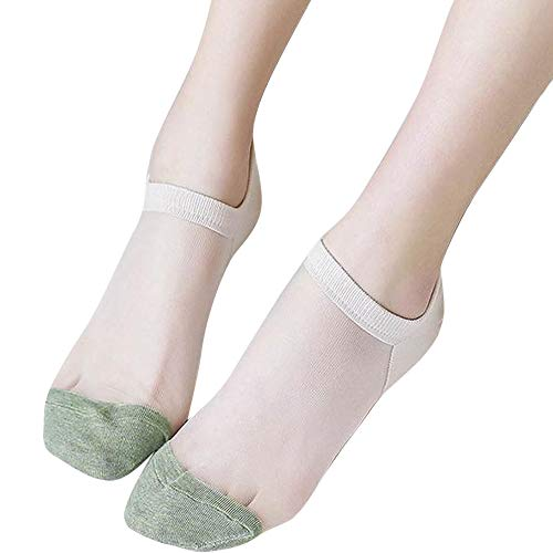 COZOCO Damen süße Socken ultradünne Transparente Socken Kristall Seide elastische Strümpfe Rechtschreibung Socken(khaki)
