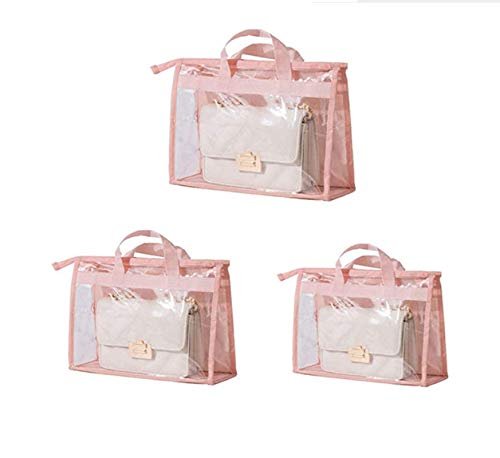 DDUUOO 3 Pack Dust Cover Bag,Handbag Storage Organizer, Transparent Anti-dust Purse Storage Bag for Hanging Closet with Zipper and Handle Space-Saving Storage Bag Pink