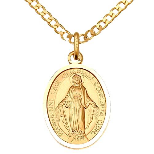 Collar con medalla milagrosa de oro de 9 quilates y cadena de 50,8 cm, colgante de Mary Madonna con caja de presentación de joyas, adecuado para hombre o mujer