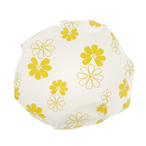 D DOLITY Bonnet de Douche, Bonnets de Bain Imperméable Caps Réutilisable Avec élastique Bande Pour Douche femmes Spa Rose/Jaune/Bleu - Jaune