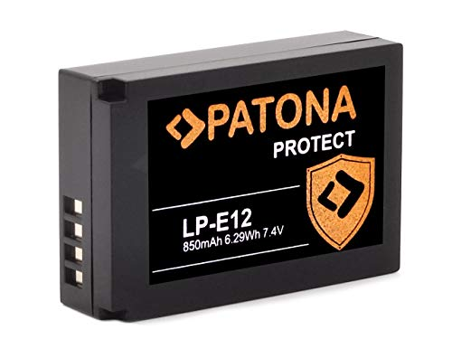 PATONA Protect V1 LP-E12 - Batería (850 mAh, sensor NTC y carcasa V1)