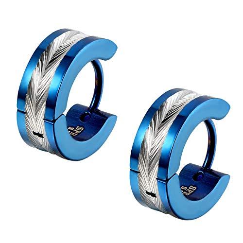 Flongo Pendientes de aros para hombre mujer, Pendientes de acero inoxidable azules plateados, Aretes pequeños originales 1 par, Regalo de Navidad