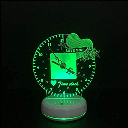 DCLINA Lámpara Reloj Tiempo luz Noche LED 3D Corazón romántico Te Amo Interruptor táctil alimentación USB Lámpara Mesa remota Colorida