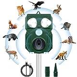 Répulsif Chat,Fréquences 9kHz-70kHz Haute Performance Répulsif à Ultrason Sonore à Large Couverture,Solaire,Chargement USB Répulsif Chat Exterieur,Pour Chats,Oiseaux,Ratons Laveurs,Chiens,Ravageurs