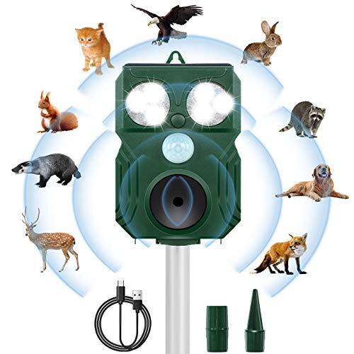 Katzenschreck Tiervertreiber,Frequenzbereich 9kHz-70kHz Hochleistung Breite Abdeckung Ultraschall Tiervertreiber Solar,Wasserdicht Solarbetriebener...