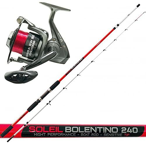 kit combo bolentino, Kolpo Soleil Bolentino Canna da Pesca 2 sezioni 200 grammi + Mulinello da Pesca Nanga SW Red Edition 5000