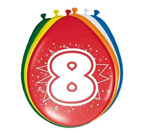 Folat- Ballons 30cm 8 Ans - 8 pièces, 08208, Multicolore, 8