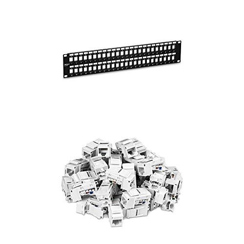 TRENDnet 48-Port Blank Keystone 2U HD Patch Panel Bundle, Includes...