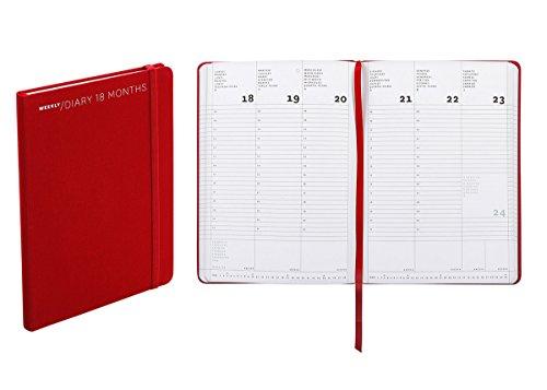 Agenda settimanale 18 mesi, formato medium, cm 15 X 21 colore rosso