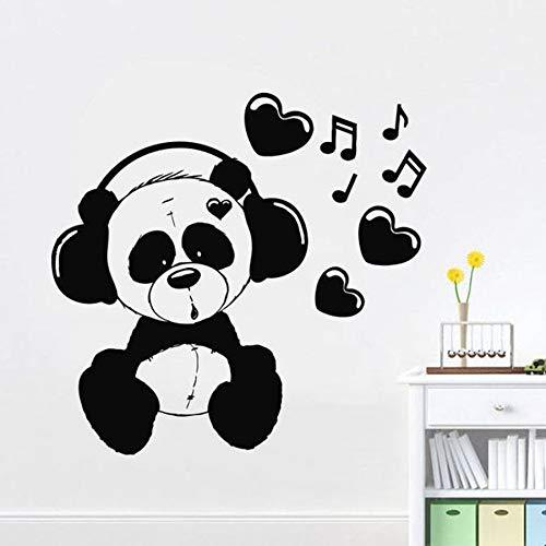 Panda escuchar música tatuajes de pared dormitorio jardín de infantes diseño de interiores sala de música arte moderno murales vinilo pegatinas de pared canciones de amor