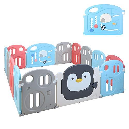 Bamny Laufgitter Baby Laufstall 200 * 180cm*64cm, Absperrgitter, Krabbelgitter, Laufställe, Schutzgitter aus Kunststoff mit Tür - Für Kinder von 0 bis 6 Jahren geeignet(12+2 Paneele)