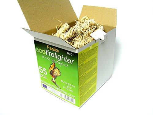 Pastillas - Encendedores de barbacoa Feniks unidades en la caja 50 + 5 = 55, para chimeneas, estufas, barbacoas y fogatas