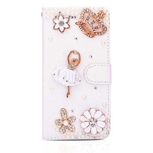 Infinite U - custodia a portafoglio in pelle per telefono cellulare, con strass, adatta a iPhone 6 Plus da 5,5', con porta tessere