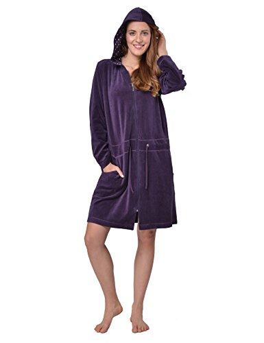 RAIKOU Peignoir Doux et Chaud pour Femme,peignoirNicki,Homewear Pyjama avec Fermeture éclair et Veste de Sauna à Capuche(40-42, Violet foncé)