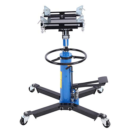 Honhill 2 Stage 1100lbs Telescopic Transmission Jack with Pedal 360° Swivel Wheel Lift Hoist Adjustable Height Hydraulic Jack