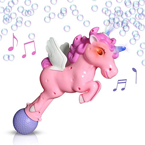 ArtCreativity 12 Inch Unicorn Bubble Blaster Gun with Light and Sound Effects - 1 Cute Light Up Bubble Blower - Batteries and Solution Included - Best Gift or Birthday Party Favor for Girls and Boys