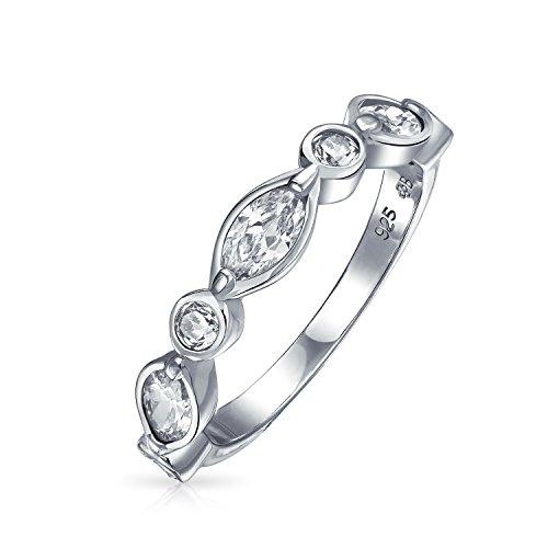 Bling Jewelry Antiguo Zirconia Cúbico CZ Fina Burbuja Apilables Mesas Marquise Aniversario...