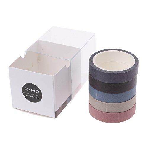 Baiyao 5 Rouleaux/Boîte Décorative Washi Rainbow Papier Collant Masquant Le Ruban Adhésif-10mm * 5M - Ruban De Masquage Wrritable Autocollant Bricolage Pour Bricolage Scrapbooking