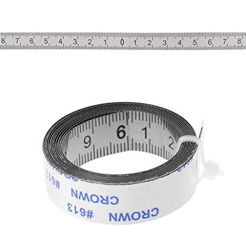 Mentin - Cinta de medición autoadhesiva de acero inoxidable (izquierda a derecha, derecha a izquierda, medio por ambos lados, 1/2/3 m (1 m, desde medio a 2 lados)
