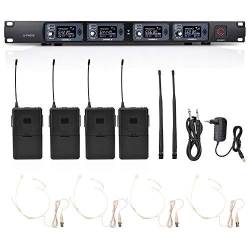 Sistema de Micrófono Inalámbrico UHF, Micrófono Portátil Profesional de 4 Canales Transmisor Inalámbrico Receptor Clip Auriculares con Solapa Set de Micrófono para Actuación Escénica(641.5-672.3Mhz)