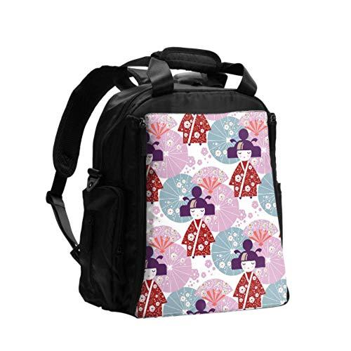 Ausgefallene Wickeltasche Rucksack Apanese Girl Doll Japanische Regenschirme Rucksack Wickeltaschen Multifunktions-Reiserucksack mit Windel Wickelunterlage für die Babypflege