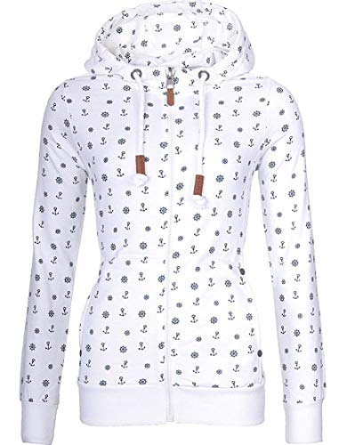 EwigYou Damen Kapuzenjacke Hoodie mit Fleece-Innenseite Sweatshirt Große Größen Übergangsjacke SweatjackeEU L/Herstellergröße 3XL Weiß